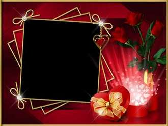 Free Photo Frame template - Valentine's Day in February, again broke gray scarlet hearts