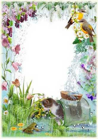 Photo Frame for Photosop - Spring rain ( free photo frame psd + png, free download )