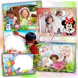 Children's frames with cartoon LadyBug, Peppa Pig, Minnie Mouse, Dora the Explorer, Doc mcstuffins ( 5 PSD + 5 PNG )