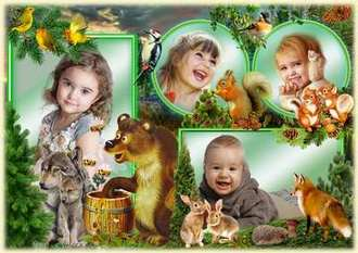 Children's photo frame template for 4 photo - Forest animals