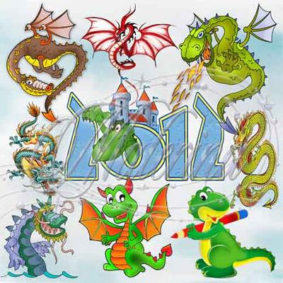 Clipart png. The symbol of 2012 - Dragons and dragon 33 PNG files
