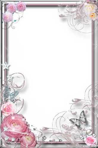 Flower Frame for Photoshop - Purple Dream ( free photo frame psd + png, free download )