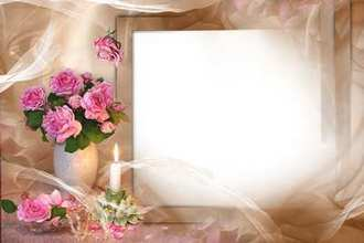 Photo frame with bouquet from roses - The Comfort ( free photo frame psd + png, free download )