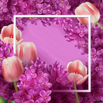 Free Psd source lilacs and tulips ( free psd file download )