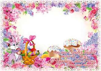 Easter photo frame with rabbit download ( free photo frame psd + png )