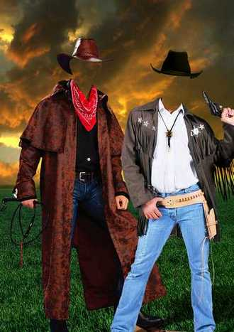 Male photo template psd - Two cowboys ( free psd file download )