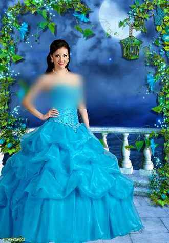 Woman psd template - Girl in a lightblue dress on a background magic night