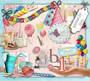 Birthday Clipart 172 PNG images, cards, envelopes, covers, frames, candles, streamers, balloons...