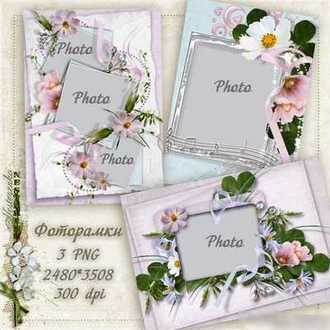 PNG Frames for photo with flowers download ( free 3 png frames )