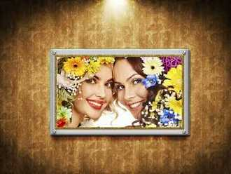 Photo frame on the wall ( free frame psd template download )