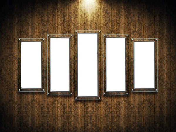 Multi-layer photo frame on the wall for five photos ( free psd frame ...