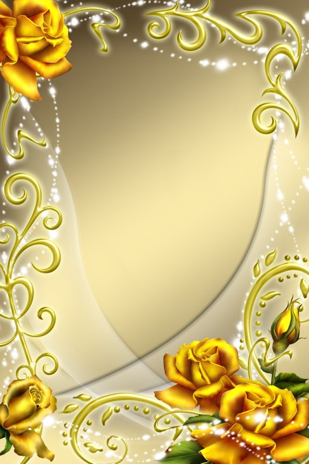 Frame for Photoshop - Yellow Roses ( free photo frame psd, free download )
