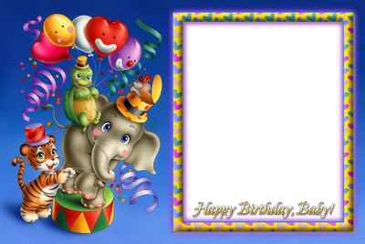 Photoframe for Girls - Happy Birthday! ( free photo frame png, free download )