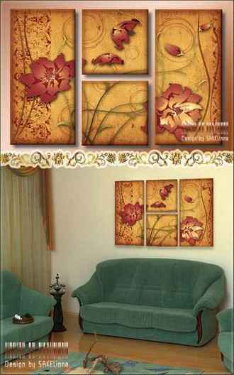 Free psd polyptych download - Vintage flowers