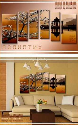 Polyptych psd download - Sakura blooming above the water