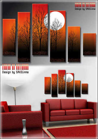 Polyptych psd download - Modular painting Trees and moon