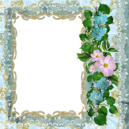 Floral frame for photoshop - Lacy blue ( free photo frame png ...