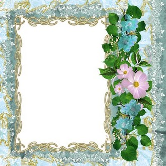 Floral frame for photoshop - Lacy blue ( free photo frame png download )