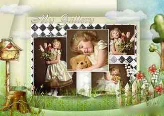 Children's multilayer frame for four pics - My gallery ( free photo frame psd, free download )