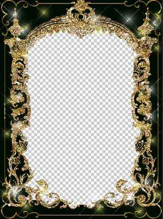 Frame for a photo - In a shining gold arch ( free gold photo frame psd + png download )
