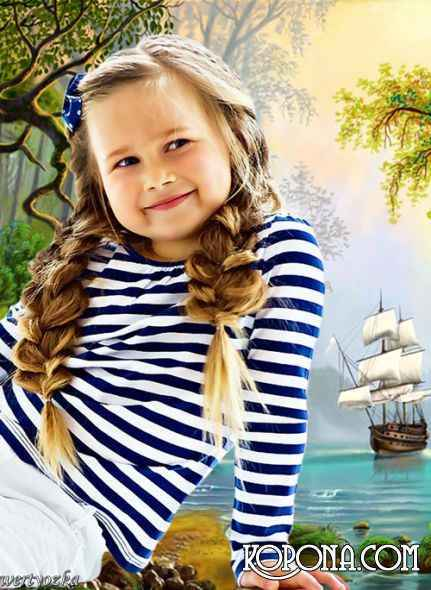 Children's template - Lovely girl at lake with swans