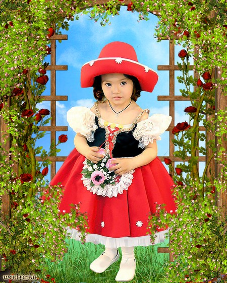 Child's template - Girl in a pink dress on a fairy-tale background