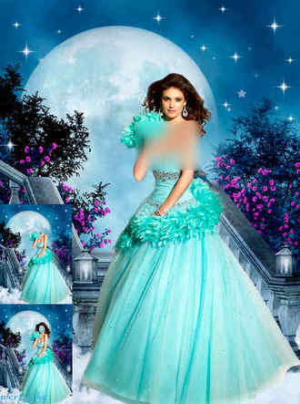 Woman psd template - Girl in a blue dress and magic night