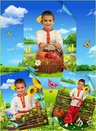Child's psd template - Boy with the basket of apples and wonderful sunflowers ( free psd file download )