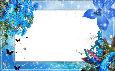 Delicate frame for photo Blue flowers - free psd frame, free png frame