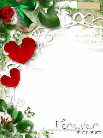 Photo Frame - Love in my heart ( free photo frame png psd download )