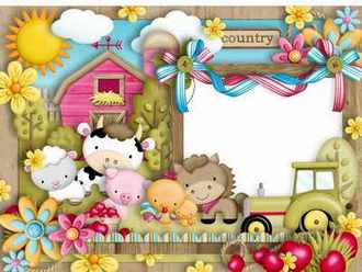 Children Frame for Photoshop - Merry village ( free Children photo frame png psd download )