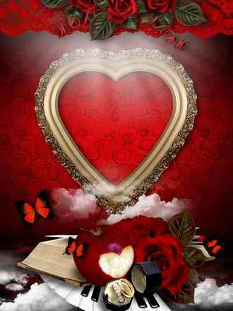 Frame for Photoshop - Elixir of Love ( free Love photo frame psd download )