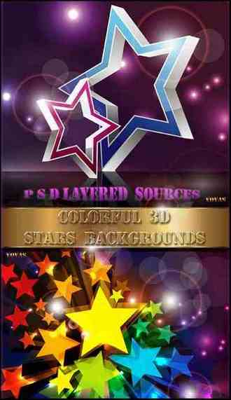 PSD Backgrounds Colorful 3D Stars ( free 2 PSD Backgrounds download )