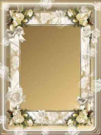 Rose photo frame template - Touch of gentle roses ( free frame multilayered psd + frame png, download)