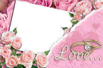 Wedding Photo Frame - Heart and Flower ( free Wedding frame psd png download )