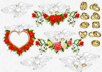 Wedding doves clipart psd and wedding rings clipart psd
