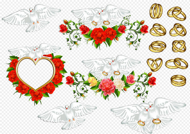 Wedding Doves Clipart Psd And Rings