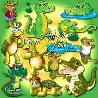 Crocodile and Tortoise clipart psd