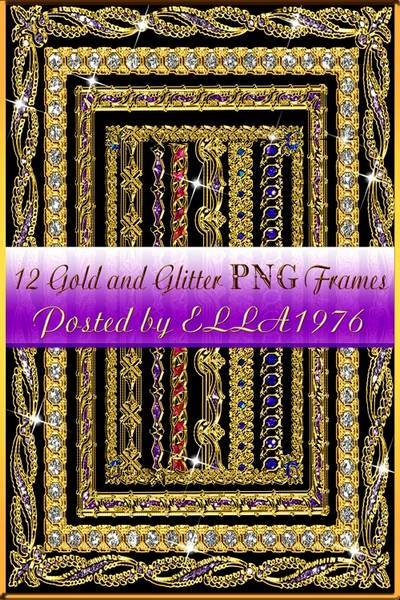 Gold and Glitter PNG Frames