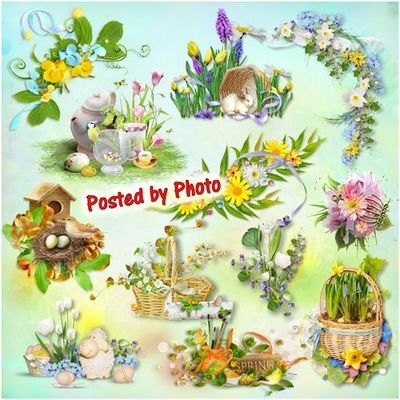 Clipart 26 PNG images Spring clusters for Photoshop with spring flowers and birds in nests on a transparent background