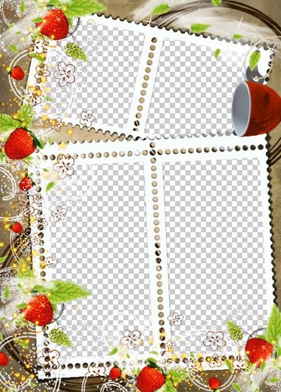 Strawberry Photo frame template download  Transparent PNG