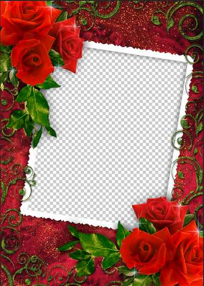 Photo Frame - The Magic Rose ( free psd png photo frame template download )