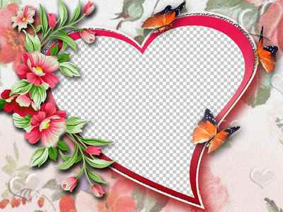 Photo Frame psd & png download –  Heart for you