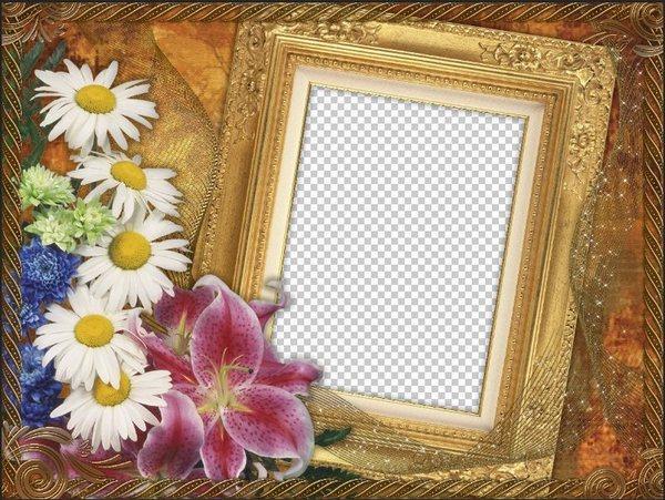 Flower Frame for Photoshop - My secret ( free photo frame