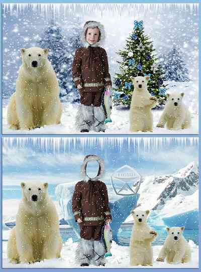 Children's psd template for photoshop download - Boy On the North pole