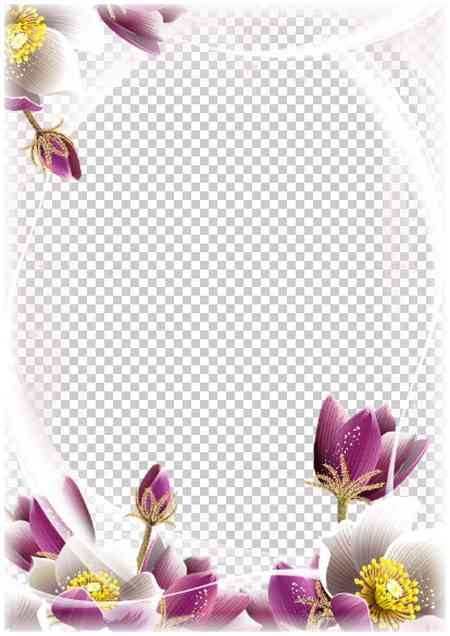 Floral photo frame template download ( free psd and png frame )