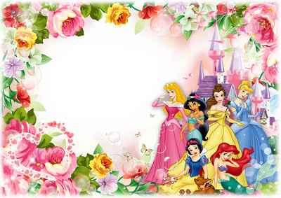 Photo Frame template for children photo with Disney Princesses - Happy Birthday, Princess