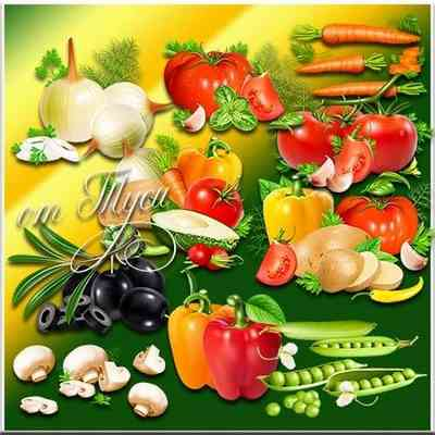 Vegetables with transparent background Clipart psd download