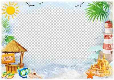 2017 Summer sea photo frame template ( frame psd png download )