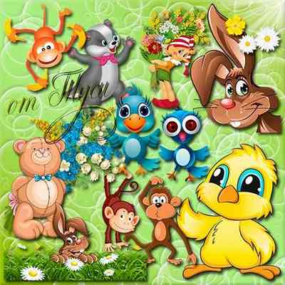 Funny animals Clipart with transparent background